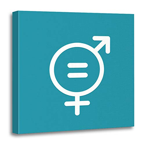 Semtomn Canvas Wall Art Print Gender Symbol of Equal Pay Day Parity Women Celebration Artwork for Home Decor 12 x 12 Inches