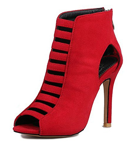 Cut Hollow Sandals Boots Heel Women's Aisun Peep Hot Red Stilettos High Toe IqOIwXz