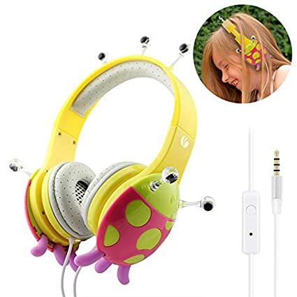 Kids Headphones Pink//Yellow VCOM Over Ear Stereo Children Safe Music Gaming Headsets Adjustable Boys Girls Ladybird Headphones with 3.5 Mm Audio Cable for iPad iPhone Smartphones Tablet PC Kindle