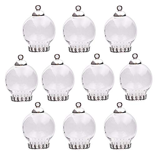 10pcs 20x12mm Cute Mini Clear Glass Globe Bottle with findings Set Glass Dome Cover Glass Vial Pendant Jewelry findings Supply (Silver Crown Base) ()