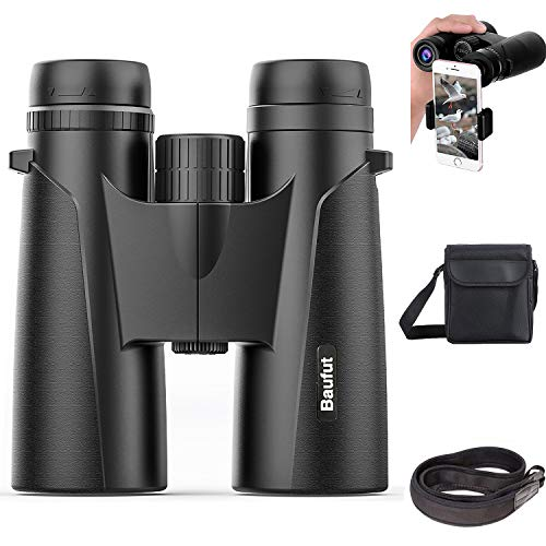 Baufut 12x42 Binoculars for Adults,HD Bird Watching Binoculars with Low Light Night Vision- BAK4 Prism FMC Lens with Strap Carrying Bag Phone Adapter