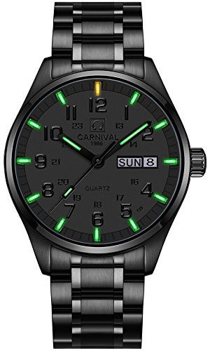 PASOY Men Luminous Watch Waterproof Blue Light Vacuum Plating Black Stainless Steel Military T25/H3 Watch (Full Black Green)