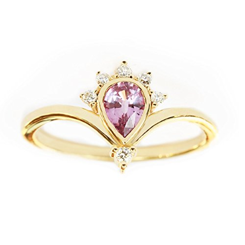SUNRISE Pink Sapphire and Diamonds Engagement ring; Purple Pear Sapphire Engagement Ring; Sapphire Teardrop Ring with Diamond Accents; Rose Sapphire Crown Ring (Diamond Engagement Rings With Pink Sapphire Accents)