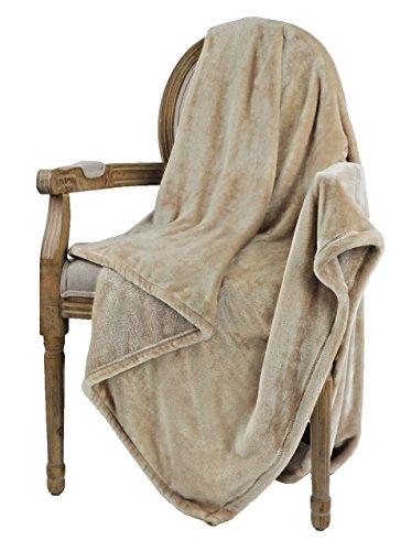 """Bertte Ultra Velvet Plush Super Soft Decorative Throw Blanket-50""""x 60"""", Light Beige"""