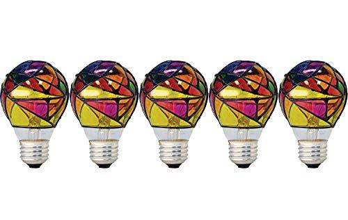 GE 46645-5 25-Watt Stained Glass Light Bulb, 5-Pack
