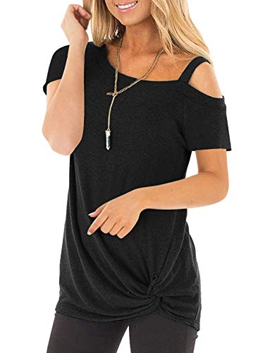 SHIBEVER Women's Summer Fashion Twist Knotted Short Sleeve Round Neck Tunic T Shirt Casual One Shoulder with Spaghetti Straps Blouse Black XL (Colour Shirt To Wear With Black Suit)