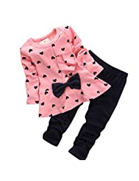 Changeshopping Baby Sets Heart-shaped Print Bow Cute 2PCS Kids Set T shirt + Pants