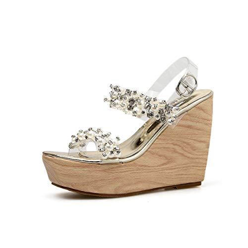 Zapatos De Tobillo Alto 35 A Plataforma Las Cuña Toe Abalorios Mujeres Tacón Verano b Plata Moda Sandalias Yan 2019 Peep Correa Rhinestone Oro zqSw5gf
