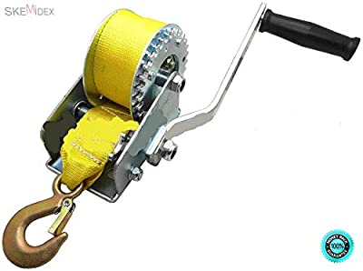 "SKEMi- 600lbs Hand Winch Hand Crank Strap Gear Winch ATV Boat Trailer Heavy Duty New Width: 2"" (5cm) Length: 20 ft (6m) Max Capacity: 600 lbs Adapts for Ratchet or Free Spool."