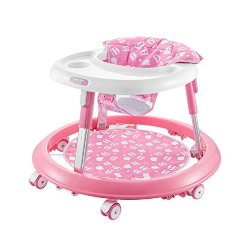 Baby Walkers, Anti-Rollover, with Music,Easy to Fold Adjustable Seat Height Activity Walker Tray (Color : Pink)