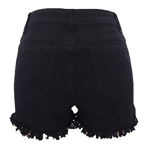 Court Jeans Femmes Gland Taille Haute lasticit Denim Shorts Noir