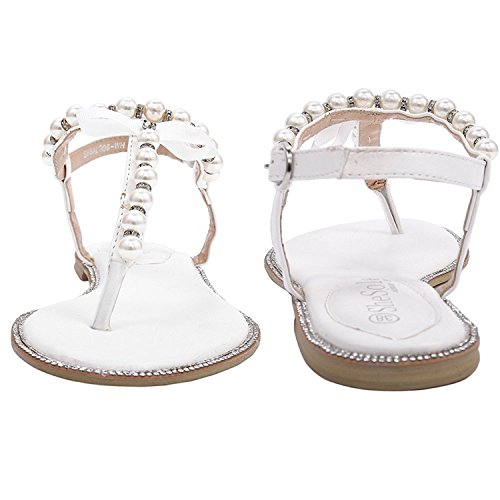 SheSole Womens Beach Wedding Shoes White Sandals Flats