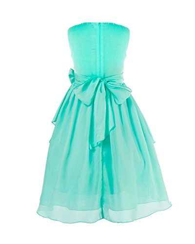 dfffe84a71d ... Dresses iEFiEL Kids Big Girl Asymmetric Ruffles Flower Girl Dresses  Outdoor Wedding Bridesmaid Chiffon Dress Turquoise 12.   