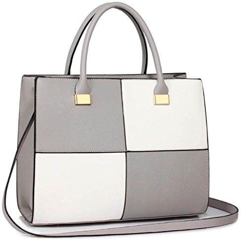 Designer Large Handbags Extra Medium Grey Bags Large Design 1 Faux Large Fashion White Large Leather Extra Womens Ladies pUwdC5qp