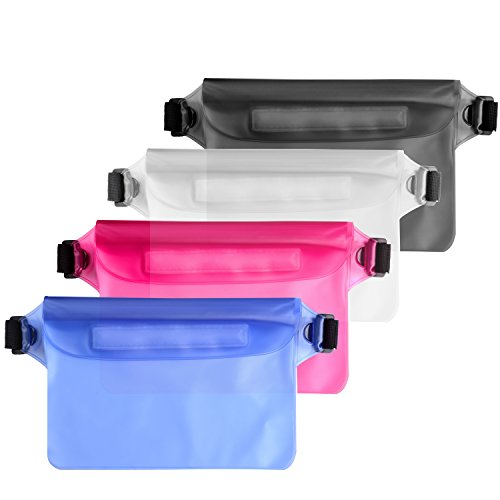 Waterproof Pouch with Waist Strap (4 Pack), Best Dry Bag for iPhone X/8/8plus/7/7plus/6s/6/6s plus Samsung galaxy s8/s7 Google Pixel HTC10, Perfect for Boating Hiking Swimming Canoeing Beach - Door Waist Seal