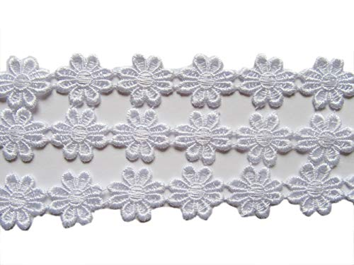"YYCRAFT 15 Yards Daisy Flower Lace Edge 1"" Flower Trim Applique for DIY Sewing Embellishment Crafts(White)"