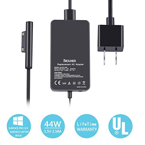 Surface Pro Surface Laptop Charger, 44W 15V 2.58A Power Supply Compatible Microsoft Surface Pro 6 Pro 4 Pro 3 Surface Laptop 2 Surface Pro Surface Laptop Surface Go & Surface Book Include Travel Case.