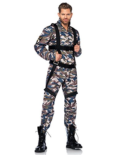 Leg Avenue Men's 2 Piece Paratrooper Costume, Camo, Medium