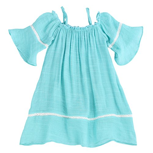 Toddlers and Girls Billowy Gauze-Cotton Madeline Off-Shoulder Dress in Ocean Aqua Size 5
