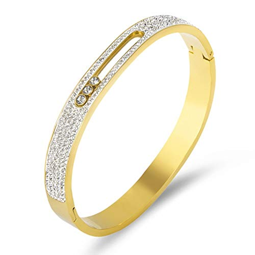 (Designer Inspired Titanium Steel Luxury Love Bracelet with Sliding Swarovski Crystals (Gold Encrusted) )