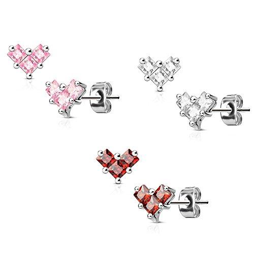 UNU Style 3 Pair Set of Various Designs Stainless Steel CZ Post Stud Earrings (Heart CZ ()