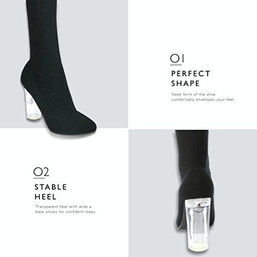 Ideal Over Sweater Heels Material See Sweater DailyShoes Nightwear Toe Sweater Unique for Knit The Black High Boots Knitted Soft Heel Through Knee a Pointy Chunky Look Tall Thigh xqHwwItA