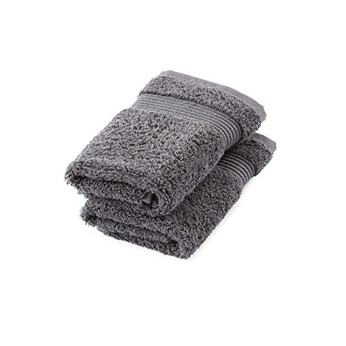 Great Bay Home 2-Pack Luxury Hotel/Spa 100% Turkish Cotton Washcloths, 600 GSM. Includes 2 Washcloths. Melanie Collection By Brand. (Washcloths (2x), Steel Grey) by Great Bay Home (Image #3)