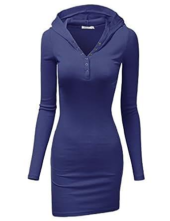 Doublju Womens Lightweight Cotton 3/4 Sleeve Dress BLUE,S