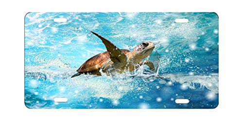 (YEX Turtle License Plate with 4 Holes Novelty Car Licence Plate Covers Tag Sign 12