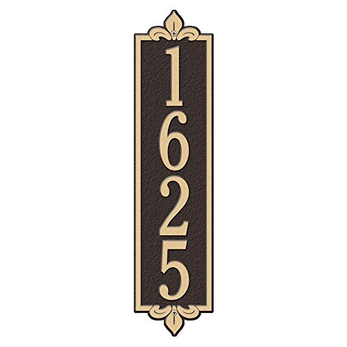 Whitehall Products Rectangular Lyon Estate Wall 1-Line Vertical Address Plaque - Bronze/Gold