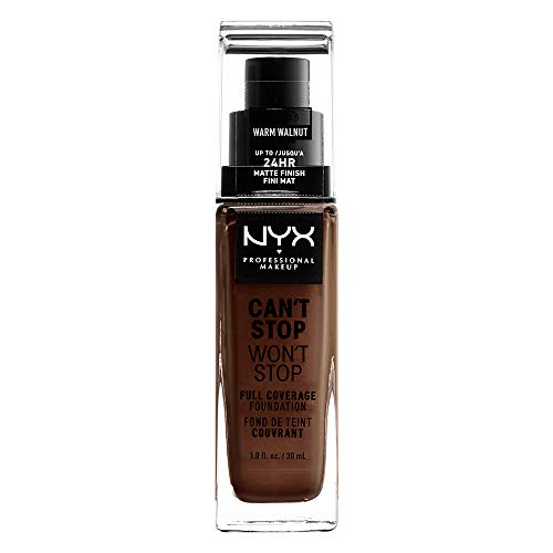 NYX PROFESSIONAL MAKEUP Can't Stop Won't Stop Full Coverage Foundation, Warm Walnut, 1 Fl Oz