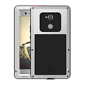 Simicoo Sony Xperia XA2 Aluminum Alloy Metal Bumper Silicone Full body Hybrid Military Shockproof Heavy Duty Armor Defender Tough Back Cover For Sony Xperia XA2
