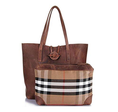 SHOUTIBAO Tote/borsa a mano/borsa a tracolla/borsa bambino/borsa + portafoglio/regalo perfetto, brown brown