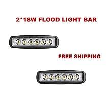 "Led light bar Primeprolight 6"" 2*18W LED Flood Light Work Light Led light bar Fog Lights Bar Driving led Lights Jeep Cabin Boat Ship SUV Truck Car ATV IP67"