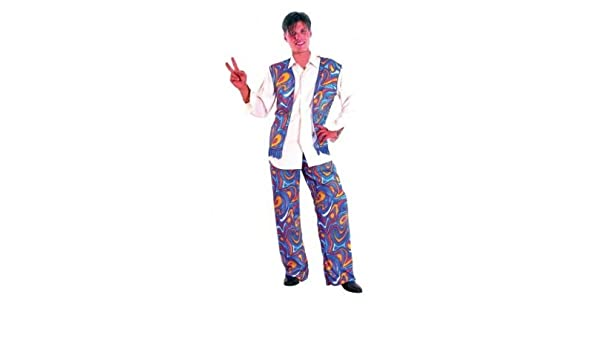 Amazon.com: Fancy Dress Costume Hippie Mens Purple flowers 60s 70s by Pams: Toys & Games
