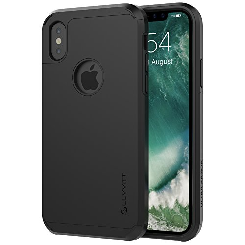 Luvvitt Ultra Armor Case with Dual Layer Heavy Duty Protection and Air Bounce Technology for iPhone X 10 (2017) - Black
