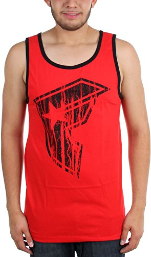 Famous Stars and Straps Mens Butcher BOH Tank Shirt, Red/Black, Large