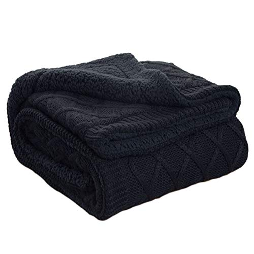 Bedsure Knitted Sherpa Throw Blanket Navy Baby Blanket 50x60 Swaddling Bed Blanket for Kids by Bedsure
