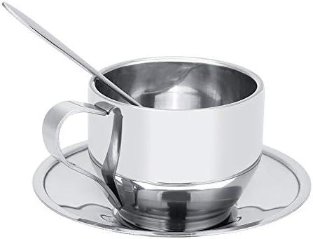 Juego de tazas de café, taza de té doble de acero inoxidable ...