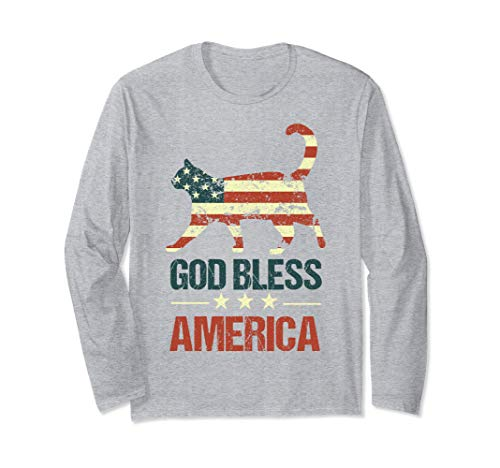 God Bless America Cat American Flag 4th of July Cats USA Long Sleeve T-Shirt