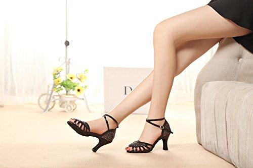 Miyoopark Filles Femmes Peep Toe Chaussures De Danse Latine Professionnelle Mariage Sandales Multi-couleur-8cm Talon