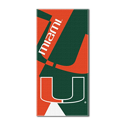 The Northwest Company Officially Licensed NCAA Miami Hurricanes Puzzle Beach Towel, 34