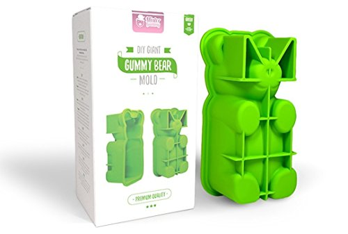 Mister Gummy DIY Giant Gummy Bear Mold | PREMIUM Quality Silicone + 2 RECIPES and 5 GIFT BAGS Included | Make BIG Bear Treats! (Gummy, Cakes, Breads, Chocolates, and More) (Green) by Mister Gummy