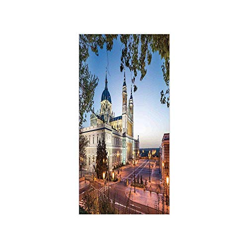 Yaoni 3D Decorative Film Privacy Window Film No Glue,Cityscape,Old Cathedral and Royal Palace in Madrid Mediterrenean Mod City Europe Urban Print,Multi,for Home&Office