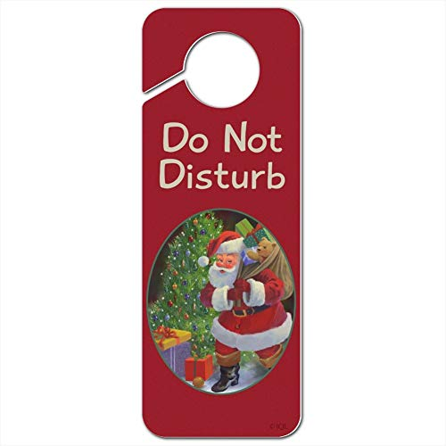 GRAPHICS & MORE Christmas Holiday Santa Bag of Toys Tree Do Not Disturb Plastic Door Knob Hanger Sign