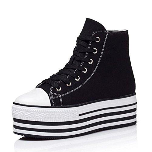 Women's Round Toe Platform Shoes Korean Casual Loafers Black - 4