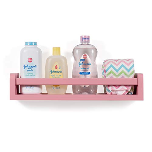 Childrens Wall Shelf Wood 17.5 Inch Multi-use Bookcase Toy Game Storage Display Organizer Ships Fully Assembled (Light Pink)