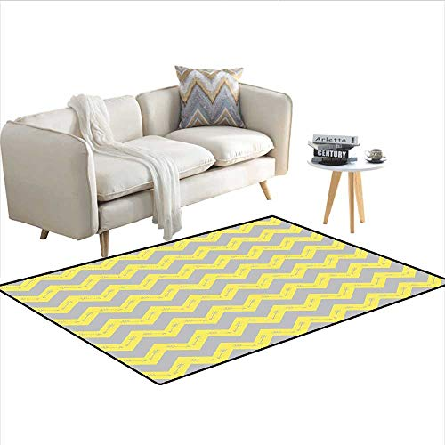 Rug,Zig Zag Pattern with Tribal Native American Arrows Primitive Abstract Design,Area Carpet,Yellow Pale Grey 40