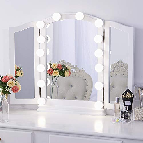Chende Hollywood Style LED Vanity Mirror Lights Kit with Dimmable Light Bulbs, Lighting Fixture Strip for Makeup Vanity Table Set in Dressing Room, Mirror Not Included (14 Light Bulbs)