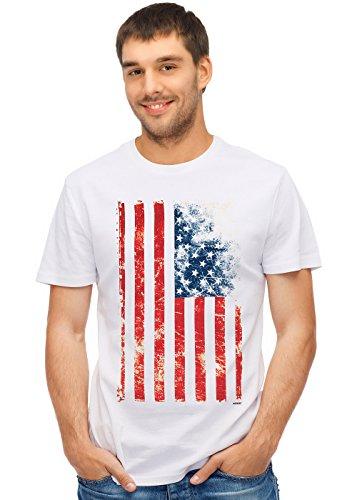 Retreez Vintage Old Glory US American Flag Graphic Printed Unisex Men/Boys/Women T-Shirt Tee - White - Medium